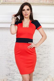 Красное платье с короткими рукавами Angela Ricci