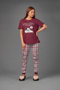 Женская пижама в клетку Трикотажница