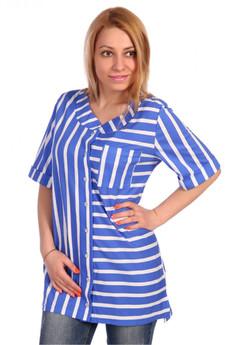 Женская блузка в голубую полоску ElenaTex со скидкой