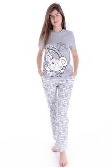 Серая пижама с мышкой Malina
